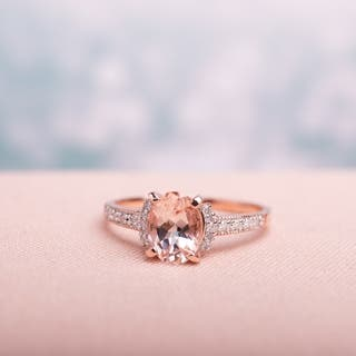 miadora rose plated sterling silver oval cut morganite and diamond accent engagement ring g h - Rose Wedding Rings