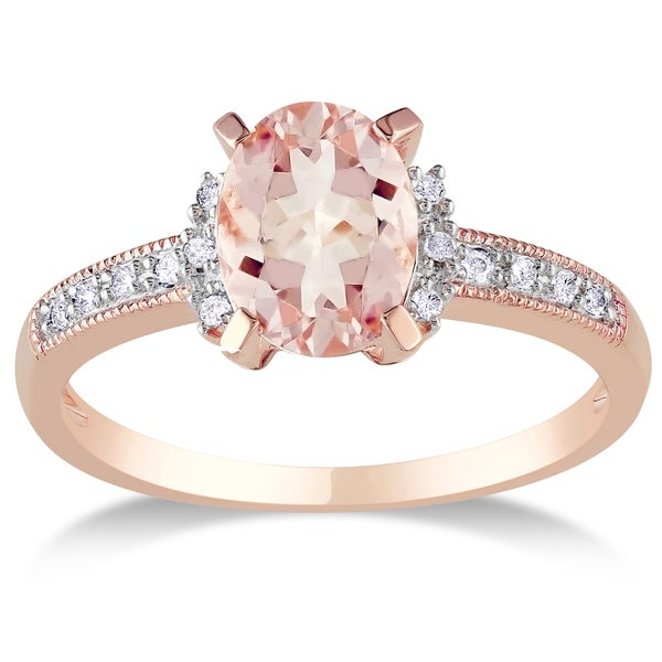 Rose-Plated Sterling Silver Oval-Cut Morganite and Diamond Accent Engagement Ring by Miadora