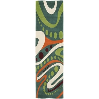 Safavieh Handmade Soho Modern Abstract Teal Wool Runner Rug (2' 6 x 12')