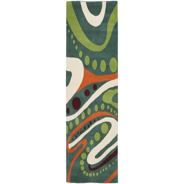 Safavieh Handmade Soho Modern Abstract Teal Wool Runner Rug (2' 6 x 12')
