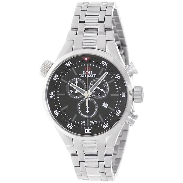 Swiss Precimax Men's Torin Pro SP12120 Silvertone Black Dial Swiss Chronograph Watch