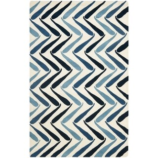 Safavieh Handmade Soho Ivory/ Blue New Zealand Wool Rug