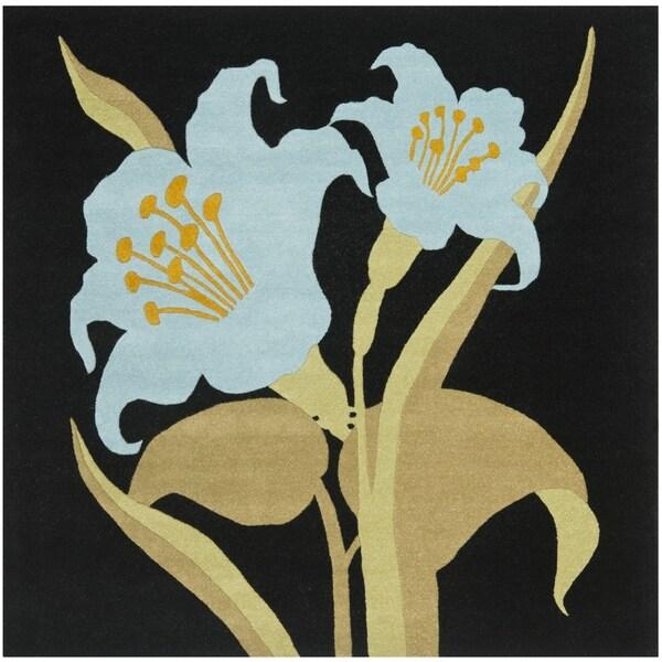 Safavieh Handmade Lily Black/Blue New Zealand Wool Rug