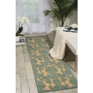 Graphic Illusions Damask Teal Rug Runner (2'3 x 8')