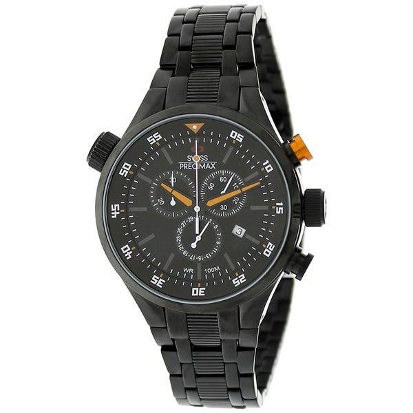 Swiss Precimax Men's Torin Pro Black with Orange Hands Swiss Chronograph Watch