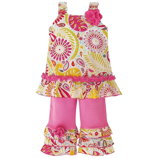 Ann Loren Girl's Sunburst Floral Tunic and Capri Set