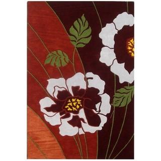 Safavieh Handmade Blossoms Brown New Zealand Wool Rug