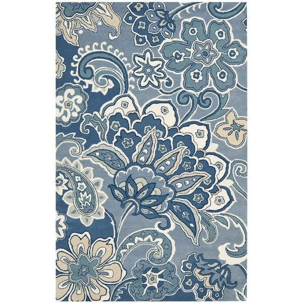 Safavieh Handmade Floral Paisley Blue New Zealand Wool Rug