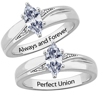 Sterling Silver CZ Diamond Wedding Ring Engraved 'Always and Forever' or 'Perfect Union'