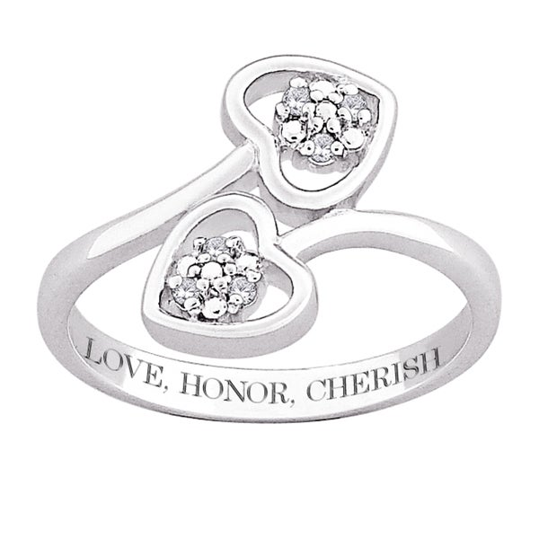 Sterling Silver Diamond Heart Engraved 'Love, Honor, Cherish' Ring