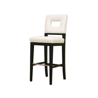 Baxton Studio Contemporary Cream Leather Bar Stool