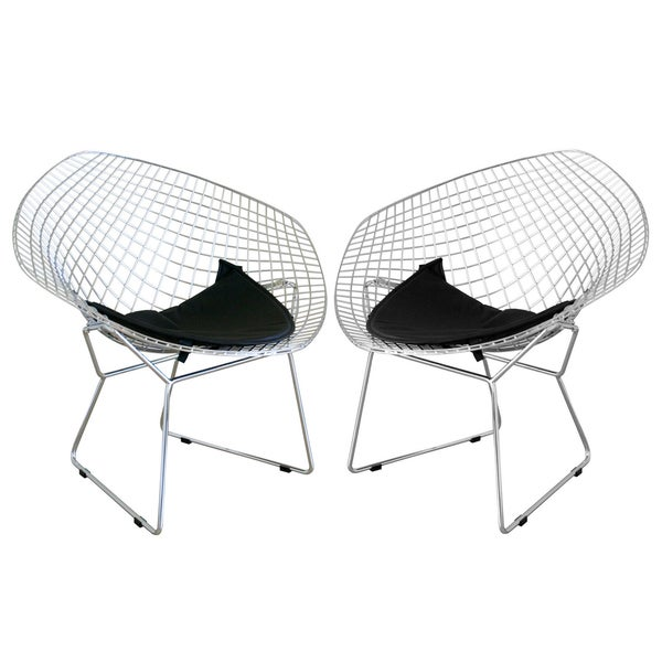 Baxton Studio Rupert Chrome Steel Chairs with Leatherette Seat Pad (Set of 2)