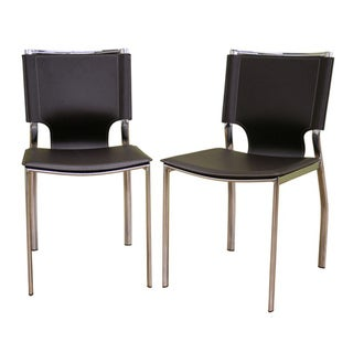Baxton Studio Montclare Brown Leather Modern Dining Chairs (Set of 2)