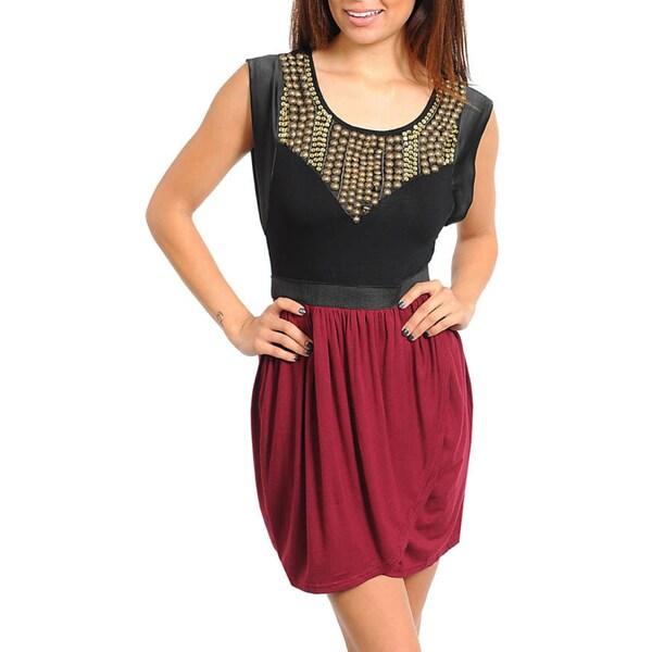 Stanzino Women's Two-tone Embellished Neckline Dress