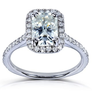 Annello by Kobelli 14k White Gold 1 1/2ct TGW Radiant Moissanite and Diamond Rectangular Halo Engagement Ring