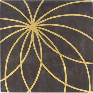 Hand-tufted Massal Charcoal Floral Wool Rug (8' Square)