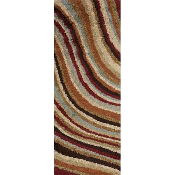 Ragusa Multi Colored Wavy Stripe Shag Rug (2'7 x 7'3)