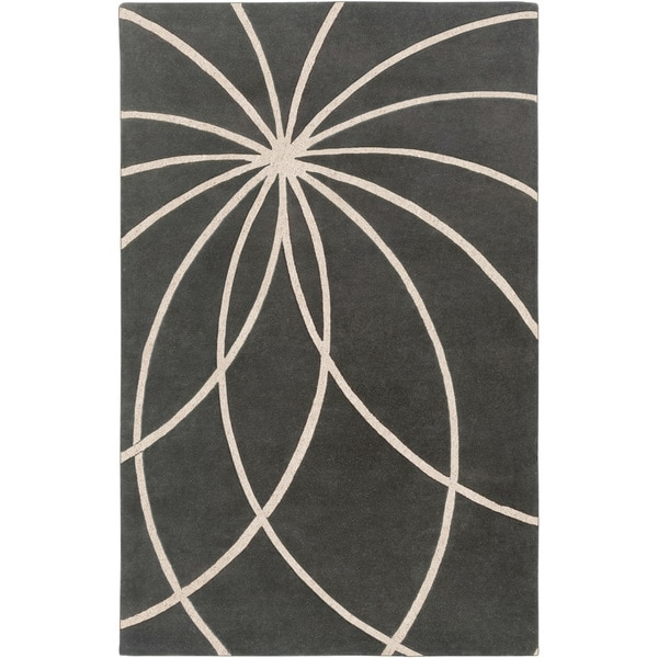 Hand-tufted Pavia Charcoal Floral Wool Area Rug - 6' x 9'