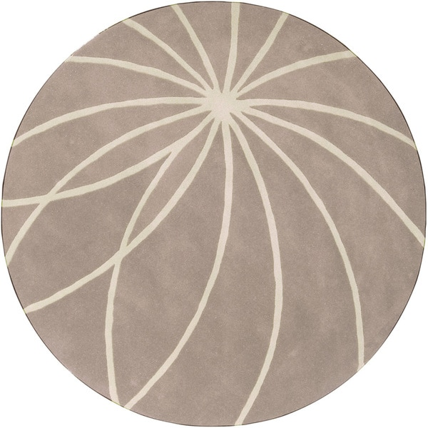 Hand-tufted Trapani Tan Floral Wool Rug (9'9 Round)