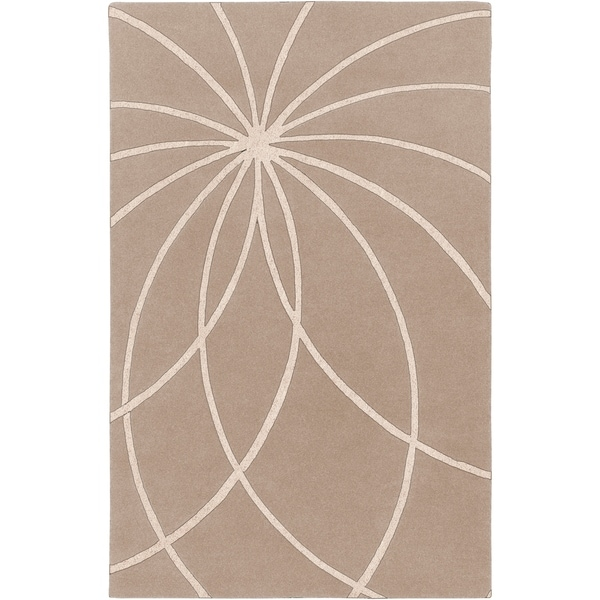 Hand-tufted Trapani Tan Floral Wool Area Rug - 9' x 12'