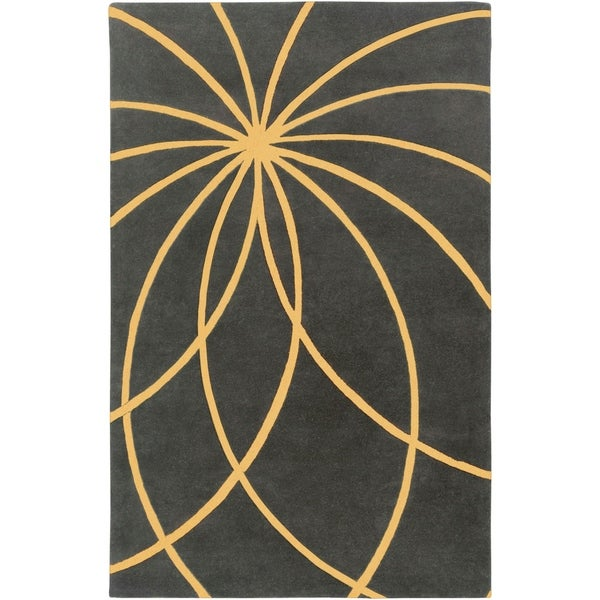 Hand-tufted Massa Charcoal Floral Wool Area Rug - 9' x 12'