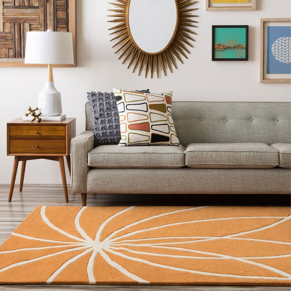 Hand-tufted Fiumicino Burnt Orange Floral Wool Area Rug (6' x 9')