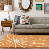 Hand-tufted Fiumicino Burnt Orange Floral Wool Area Rug - 6' x 9'