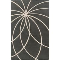Hand-tufted Pavia Charcoal Floral Wool Area Rug - 9' x 12'