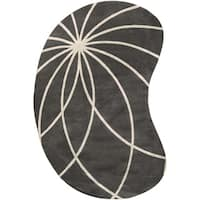 Hand-tufted Rotura Charcoal Floral Wool Area Rug - 8' x 10'