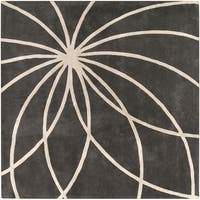 Hand-tufted Rotura Charcoal Floral Wool Area Rug - 8' Square