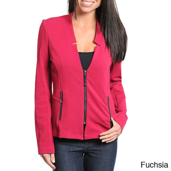 Stanzino Women's Zip Up V-neck Jacket