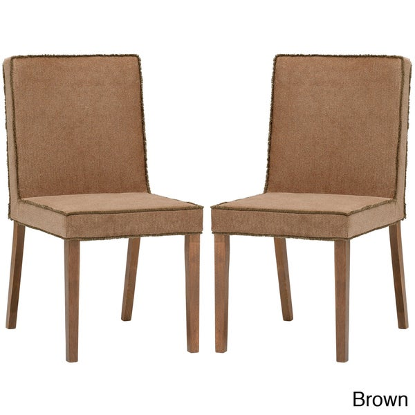 Cuba Brown Microfiber Modern Dining Chairs (Set of 2)