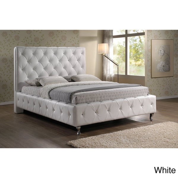 stella crystal tufted white modern bed with upholstered headboard 15039756. Black Bedroom Furniture Sets. Home Design Ideas