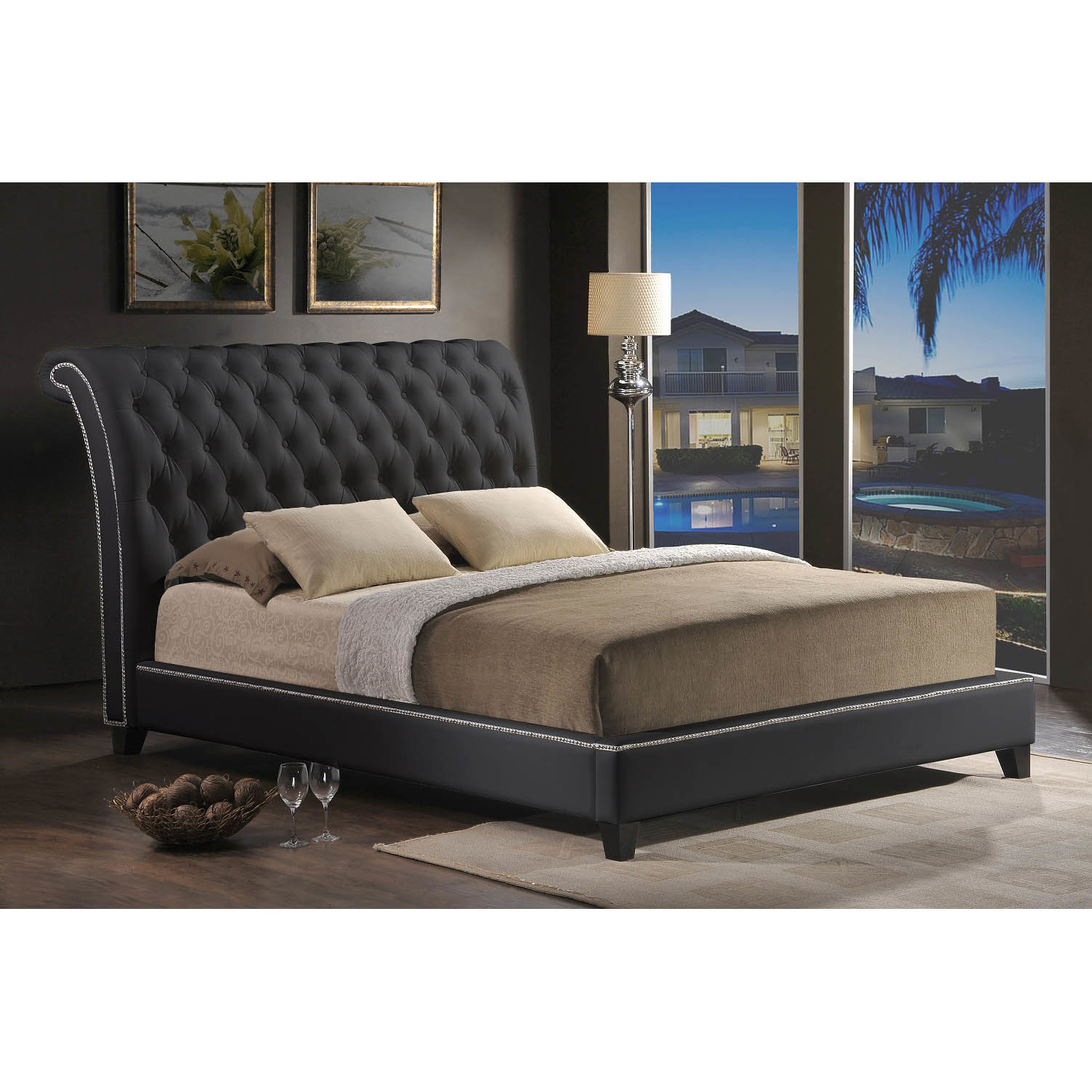 Baxton Studio Jazmin Tufted Modern Bed with Upholstered H...