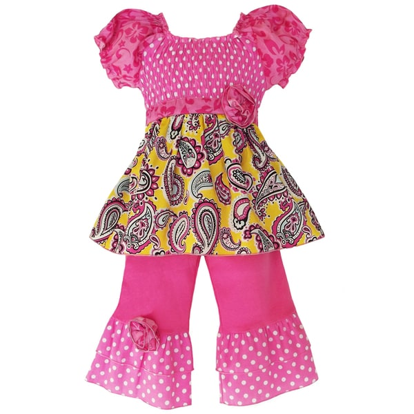 AnnLoren Girls Smocked Paisley/ Polka Dots Outfit