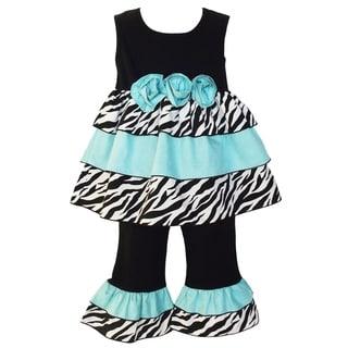 AnnLoren Girls Zebra Blue Rose Rumba Outfit