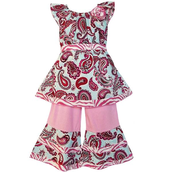 AnnLoren Girls Blue Paisley/Pink Zebra Outfit