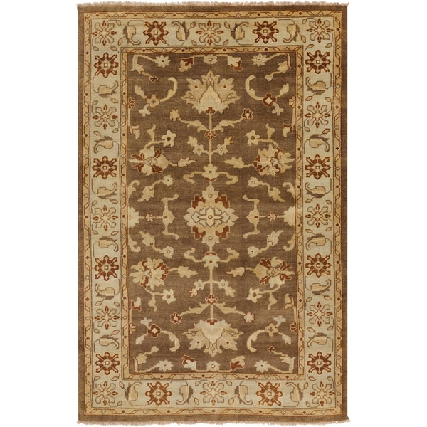 Hand-knotted Golden Brown Mangusta Wool Area Rug - 8' X 11'