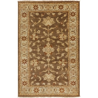 Hand-knotted Golden Brown Mangusta Wool Rug (8' x 11')