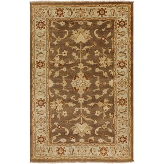 """Hand-knotted Golden Brown Mangusta Wool Area Rug - 5'6"""" x 8'6"""""""