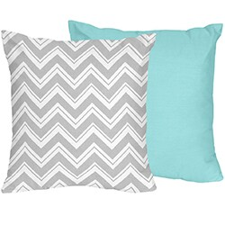 Sweet JoJo Designs Turquoise and Grey Zig Zag Decorative Accent Throw Pillow