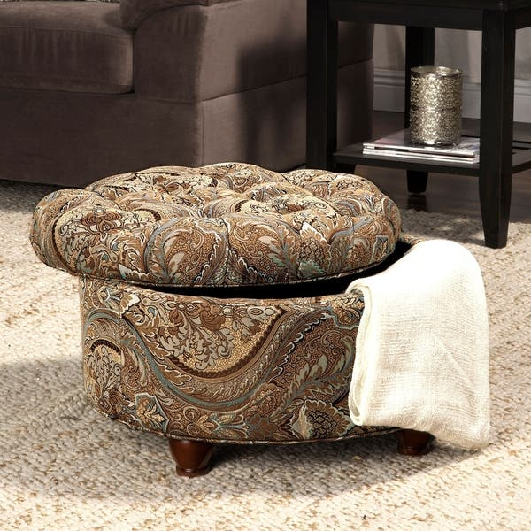 Button Tufted Round Storage Ottoman Brown And Teal Paisley On Sale Overstock 7618902