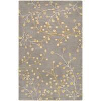 Hand-tufted Grey Mirada Floral Wool Area Rug (2' x 3')