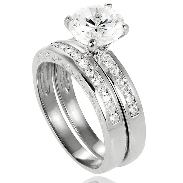 Journee Collection Sterling Silver Cubic Zirconia Bridal and Engagement-style Rings