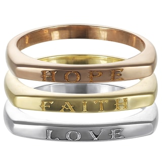 Journee Collection Sterling Silver 'Hope Love Faith' 3-piece Ring Set