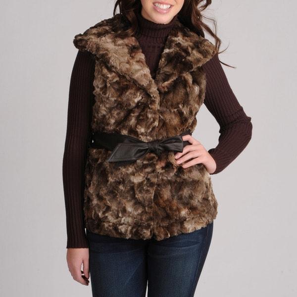 Mo-Ka Women's Brown Faux Fur Vest