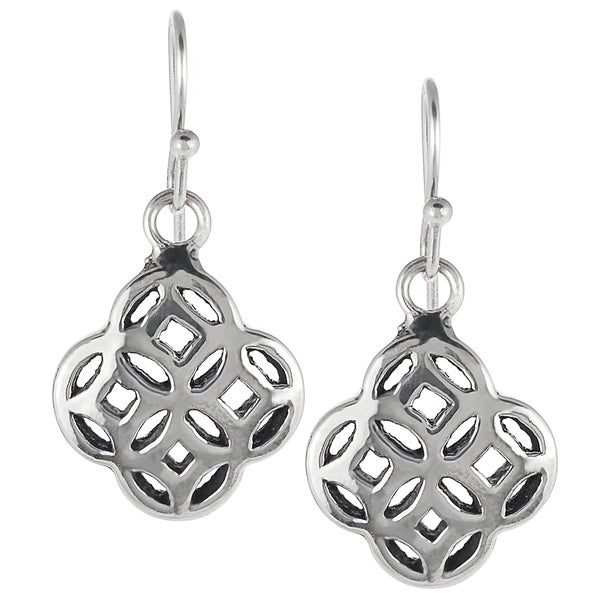 Journee Collection Sterling Silver Celtic Unity Knot Dangle Earrings