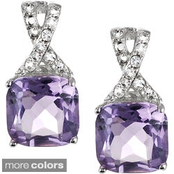 Journee Collection Sterling Silver Gemstone and Cubic Zirconia Square Earrings