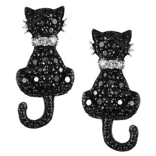 Journee Sterling Silver Cubic Zirconia Cat Earrings