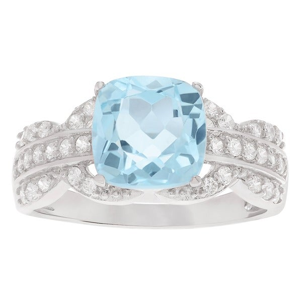 Journee Collection Sterling Silver Colored Gemstone and Cubic Zirconia Solitaire Bridal Ring